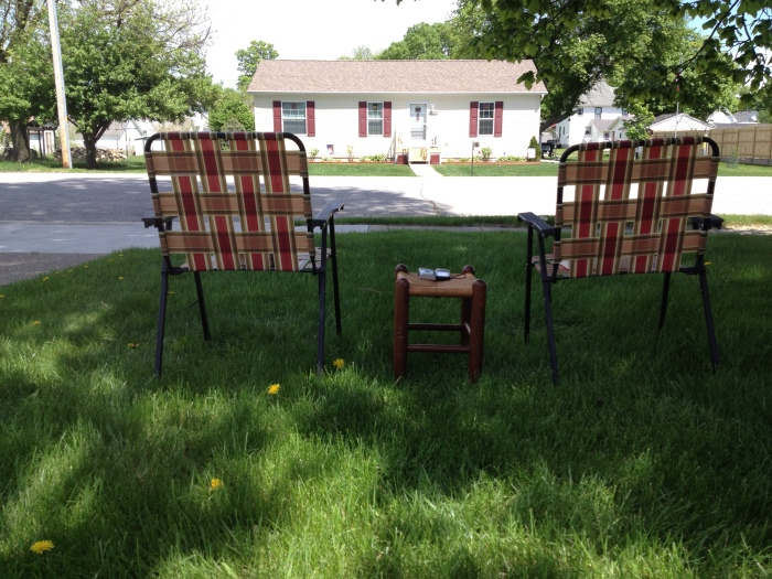 Chairs on the front lawn