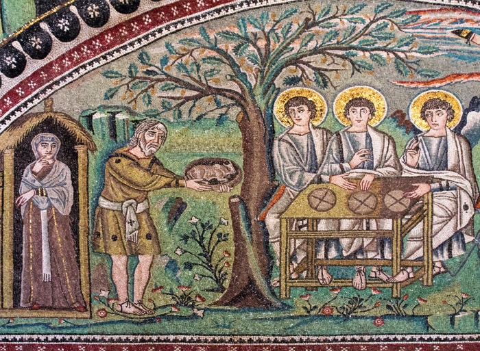 The Hospitality of Abraham from the basilica of San Vitale in Ravenna, Italy. Photo by Lawrence OP